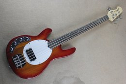 Wholesale Sunburst Bass - Left Handed Hot High Quality Music Man Ernie Ball Sting Ray Sunburst 9V Active Pickups 4 String Electric Bass Guitar Free shipping