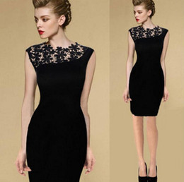 Wholesale Stretch Party Pencil Dress - Summer Dress 2014 Black Sexy Womens Stretch Evening Party Casual Lace Slim Bodycon Pencil Dresses Vestidos Crochet Elegant Dress