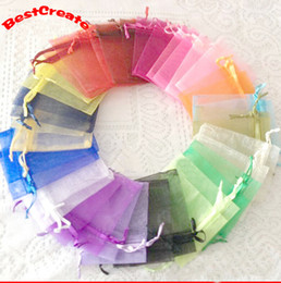 Wholesale Mixed Organza Bags - Jewelry Bags MIXED Organza Jewelry Wedding Party Xmas Gift Bags Purple Blue Pink Yellow Black With Drawstring 7*9cm