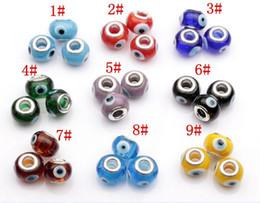 Wholesale Glass Evil Eye Charm Bracelet - Hot Sell ! 100pcs 14mm Evil Eye Murano Lampwork Colored Glaze 5mm Big Hole Glass Beads Fit Charm Bracelet DIY Jewelry 9 Colors