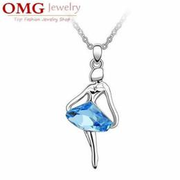 Wholesale Dance Charms Silver - Austrian crystal pendants fashion ballet dancing girl beautiful angel necklace [SKU:A036]
