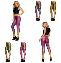 Wholesale Fish Fins - Mermaid Fish Scales Leggings Women Mermaid Slim Tights Jeggings Tail Fins Shiny Fitness Pencil Pants 6 Styles OOA3390