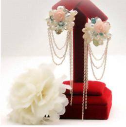 Wholesale Pink Rose Gold Earrings - Fashion Boucle D'oreille Long Bohemian Pink Rose Brinco Tassel Earrings Pearl Jewelry Free Shipping earring jewelry box