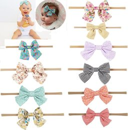 Wholesale Handmade Christmas Hair Accessories - Handmade Boutique Nylon Headband with Fabric Bow for Baby Girls Hair Accessories Hair Bowknot Head Band Wholesales
