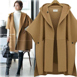 Wholesale Red Hooded Poncho - Plus Size New Autumn Winter Women's Wool Blends Overcoat Cloak Poncho Coat Hooded Loose Tops Outwear Cape Coats 3 Colors C3230