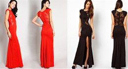 Wholesale Trumpet Skirt Bridesmaid Dresses - Evening Dress Sexy Dress Evening Dress Fashion Womens Sexy Open Fork and Lace Dress Hot Womens Elegant Flora Print and Cut Out Skirt