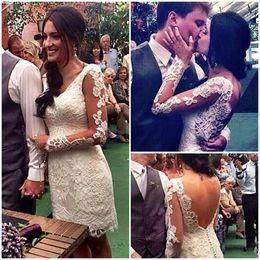 Wholesale simple garden sheath wedding dress - Elegant Short Lace Wedding Dresses V Neck Sheath Illusion Long Sleeves Wedding Dress Low Back Covered Buttons Bridal Gowns Cheap