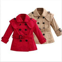 Wholesale Girls Windbreaker 5t - New Arrive 2016 Girl's Cute Windbreaker Sashes Tench coats Girls Fashion Belt Shawl Jackets kids children's blends Dust coat