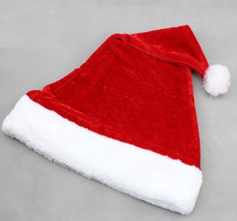 Wholesale Plush Costumes For Adults - High-grade Christmas Hat Adult Christmas Party Cap Red Plush Hat For Santa Claus Costume Christmas Decoration gift wen4808