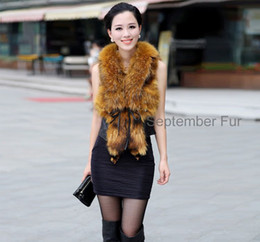 Wholesale Raccoon Fur Vest Women - Wholesale-Classic 100% women Real Natural sheepskin vest with raccoon fur Jacket Coat Girl Lady  Wholesale Retail free ship short winter