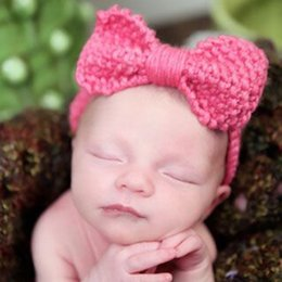 Wholesale knit head band bow - Sweet Newborn Turban Ear Warm Headband Crochet Knitted Bow Hairband Head Wrap Hair Bands Accessories For Kids Baby Girls