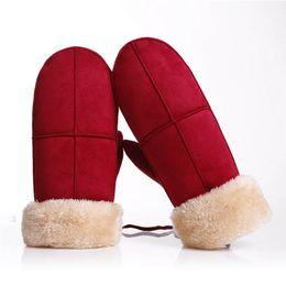 Dedos de corda on-line-Moda Feminina Meninas Bonito À Prova de Vento Luvas de Camurça Torção Luvas Luvas de Dedo Completa Quente de Inverno Macio com Corda Conveniente