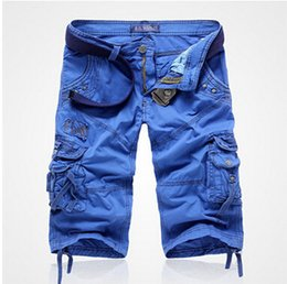 Wholesale Korean Men Short Pant Fashion - free shipping Hot Selling Seventh pants Korean version Knee Length Beach Shorts fashion Men cotton Summer Cargo Shorts (No Belt)5822