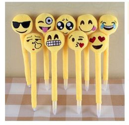 Wholesale Plush Toy Love - Newest emoji Ballpoint Pens Plush Toy children's love Creative Expression pen with cartoon plush toys kids Christmas Gift R1544