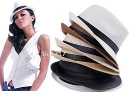 Wholesale New Fedora - New Vogue Men Women Straw Hats Soft Fedora Panama Hats Outdoor Stingy Brim Caps Colors Choose 0350
