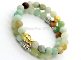 Wholesale Party Gods - 2015 New Design Summer Bracelets Wholesale Natural Amazonite Stone Beads God and Silver Buddha Energy Bracelets Party Gift