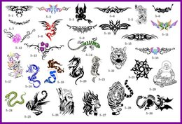 Wholesale Tattoo Picture Books - Wholesale-free shipping lastest new fashion Hot unit5 golden phoenix temporary AIRBRUSH TATTOO STENCIL BOOK 30 pictures