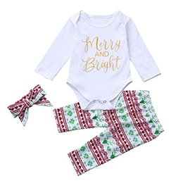Wholesale Cute Winter Headbands - 2018 New Christmas Baby Suits Merry Bright White Romper Retro Pants Headband Clothes Set 3pcs Deer Printed Outfits Cotton Newborn Cute Suit