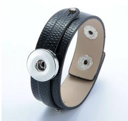 Bijoux en cuir en Ligne-Grand pas cher noir diy 18mm noosa bouton bouton pression bracelet bracelets en alliage de cuivre PU cuir bracelet bracelet bracelet adaptable bijoux accessoires
