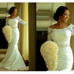 Wholesale Tulle Wedding Belt Shoulder - 2016 Long Sleeve Mermaid Luxury Wedding Dresses Sexy Off the Shoulder with Beads Belt Ivory Court Train Vintage Lace Bridal Gowns BA0645