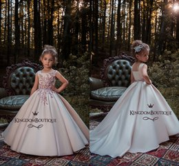 Wholesale simple flower girl dresses - Simple Lovely Girl's Pageant Dresses Square Applique Beads Pleats Flower Girl Dresses Satin Sweep Train Formal Birthday Party Dress