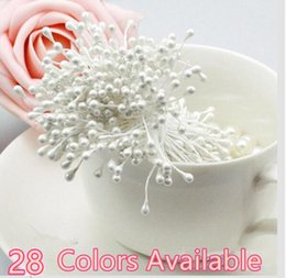 Wholesale Wedding Card Silver - Wholesale-50PCS   Lot Multicolor DIY pearl flower stamen  Double Heads Stamen Pearlized Craft Cards Cakes Decor Floral Wedding Decoration