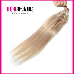 Wholesale Micro Loop Remy Peruvian - Wholesale Brazilian Straight Human Hair Extensions Micro Loop 100pcs 18inch Peruvian Malaysian Indian Remy Micro Ring Hair Blonde 613#