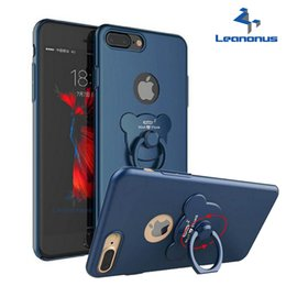 Wholesale Finger Pc Cases - Original Luxury Phone Case With Bear Finger Ring Stand For Apple iPhone X 8 7 6 6S Plus Back Cover Matte Hard PC Phone Holder Bag