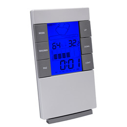 Wholesale Thermometer Hygrometer Humidity - New arrival Digital wireless LCD Thermometer Hygrometer Electronic Indoor Temperature Humidity Meter Clock Weather Station LZ0691