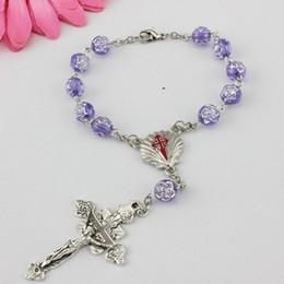 Braccialetti del rosario di plastica del rosario del fiore della rosa all'ingrosso di modo i branelli religiosi dei braccialetti del rosario della traversa 8mm Vendita calda da