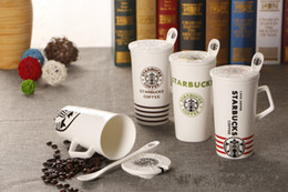 Wholesale Starbucks Ceramic Coffee Cups - New 4colors STARBUCKS ceramic cup coffee mug with cover + spoon black red green coffee free shipping