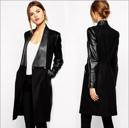 Wholesale Overcoat Pu - Women's Woolen Coats Winter New Suit Collar Long PU Leather Sleeve Work Coat for Women Overcoat Female Jacket US Size S-XL new arrive!!