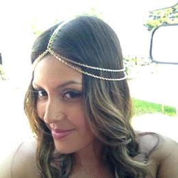Wholesale Bride Hair Chain - 2016 new design hair chain gold Hair Accessories vintage bride wedding Accessories