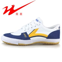 Wholesale Style Star Shoes - Wholesale-2016 New Arrival DOUBLE STAR Canvas Table Tennis Shoes Ox-tendon Vintage Style Classic Pingpong Sneaker L00-703S
