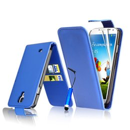 Wholesale S4 Flip Down - Wholesale-Up&Down Flip Case for Samsung Galaxy S4 Mini i9190 Wallet Card Slots Magnetic PU Leather Case for Galaxy S4mini i9190 Case +