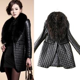 Wholesale Raccoon Leather Fur Coat - Women's Slim Fit Faux Fur Collar Coat Outwear Black Long Sleeve Faux Leather Jacket Checked Long Overcoat CJD1003