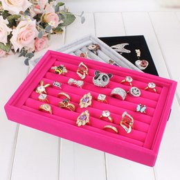 Wholesale Stud Display Stand - Top Grade Velvet Ring Stud Earring Jewelry Display Stand Tray Holder Wooden Jewelry Box Rings Organizer Show Case Ear Pin Accessories box