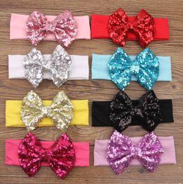 Wholesale Big Pink Hair Bow Headband - New girls bows sequins Hairband kids Hair Band European and American style big bows headwear Children Elastic headband E0669