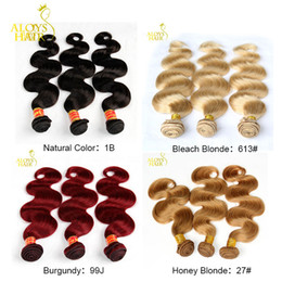 Wholesale Human Hair Weaving Red - Brazilian Virgin Hair Body Wave 3Pcs Natural Black Honey Blonde 27# Bleach Blonde 613# Burgundy Red 99J Human Hair Weave Bundles Double Weft