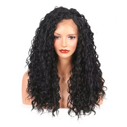 Wholesale Long Realistic Wigs - High Density Fashion Realistic Looking Synthetic Heat Resistant Fiber Wig for Black Women Synthetic Long Water Wave Lace Front Wigs