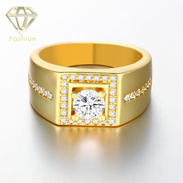 Wholesale Gold Diamond Filled Engagement Rings - Mens Wedding Band 18K Rose White Gold Plated Male Ring, Square Shaped with Side Stones CZ Diamond Engagement Ring