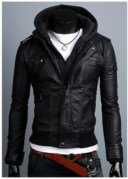 Wholesale European Leather Jackets For Men - Fall-Tothe 2015 winter selling the European and American style for men's leather garment leather jacket can take off the hat