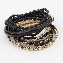 Wholesale Candy Charms For Bracelets - Wholesale-2015 Trendy Candy Color Multilayer Charm Bracelet & Bangle For Women Fashion Jewelry Pulseira femininas pulseras mujer