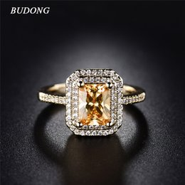 Wholesale Pretty Cut - Wholesale- BUDONG Stunning Pretty Double Halo Finger Ring Gold-Color Infinity Princess Cut Orange Crystal Zircon Jewelry For Women