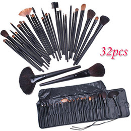 Wholesale Goat Hair Makeup Brushes Pink - 32 PCS Cosmetic Facial Make up Brush Kit Professional Wool Makeup Brushes Tools Set with Black Leather Case TOP Quality!