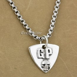 Wholesale Silver Guitar Picks - 925 Sterling Silver Guitar Pick Skull Biker Pendant 9S022A 316L Stainless Steel Necklace 24 inches