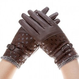 Wholesale Cheap Ladies Mittens - Cheap Warm Wrist Winter Mittens Women Leather Gloves 6 Colors Female Elegant Lady B16