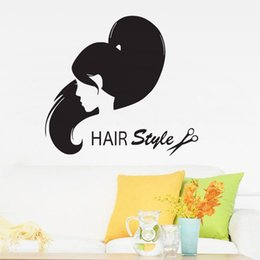 Wholesale interior design modern living room - Hair Salon Fashion Girl Hairstyle Wall Stickers Vinyl Removable Interior Decor Wall Decals Creative