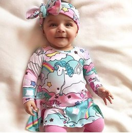 Wholesale Horse Bows - INS Toddler Cartoon Dress Spring 2018 horses rainbow sky paradise Princess Dress + Bow Headband 2pcs Sets Infant Outfits C2681