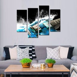 Wholesale Musical Wall Art Decor - 4 Panles Canvas Painting Guitar Paintings Wall Art Musical Instruments Print with Wooden Framed Music Pictures For Home Decor